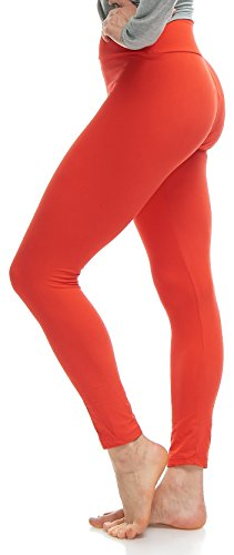 Lush Moda Extra Soft Leggings - Variety of Colors - Yoga Waist - Red