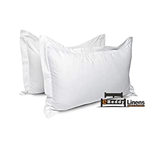 "Pillow sham Set of 2 White Solid 800 Thread Count Envelope Closure Pillow Cover | Long Staple – Sateen Weave Silky Soft Natural Cotton | breathable & Smooth Feel (Standard 20"" x 26"", White)"