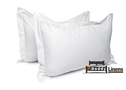 Pillow sham Set of 2 White Solid 800 Thread Count Standard 20'' x 26'' Size Envelope Closure Pillow Cover | Long Staple - Sateen Weave Silky Soft Natural Cotton | breathable & Smooth Feel