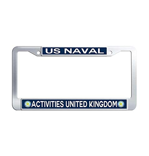 Toanovelty US Naval Activities United Kingdom Metal Car tag Frame, Waterproof Stainless Steel Car License Plate Holder 6' x 12' in ()