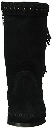 Minnetonka Damen Lunafringeboot Mokassin Stiefel Schwarz (Black)
