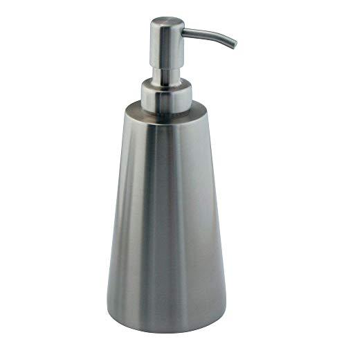 mDesign Modern Metal Refillable Liquid Soap Dispenser Pump Bottle for Bathroom Vanity Countertop, Kitchen Sink - Holds Hand Soap, Dish Soap, Hand Sanitizer, Essential Oils - Brushed