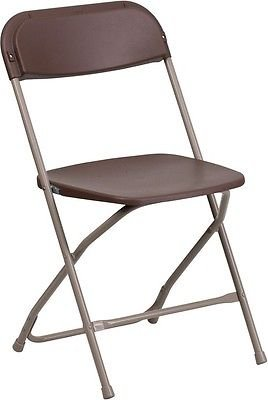 Textured Polypropylene Stacking Chairs - 800 Lbs Weight Capacity Commercial Quality Brown Color Plastic Folding Chairs