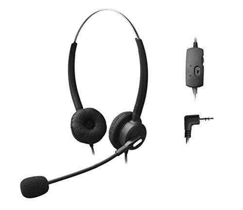 Comdio 2.5mm Call Center Telephone Headset Headphone with Mic + Volume Mute Controls for Panasonic KX-NT136 KX-NT343 KX-NT346 KX-NT366 KX-T7603 IP and Cordless Phones with 2.5mm Headset Jack (H203VP4)