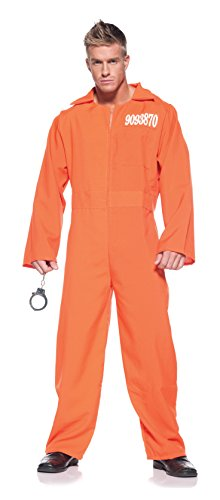 [Men's Prisoner Costume - Prison Jumpsuit] (Robber Costume Halloween)