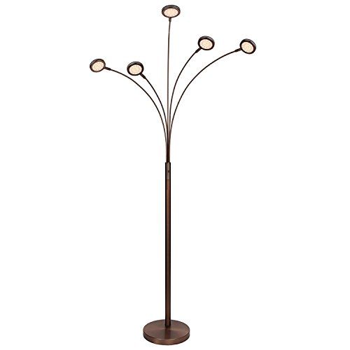 "Brightech – Orion LED Floor Lamp – Dazzlingly Bright ""Constellation"" of 5 Curving Lamp Heads with Orbs of Embedded LED Lights – 22.5 Watts – 2,250 Lumens in Total – Oil Brushed Bronze by Brightech"