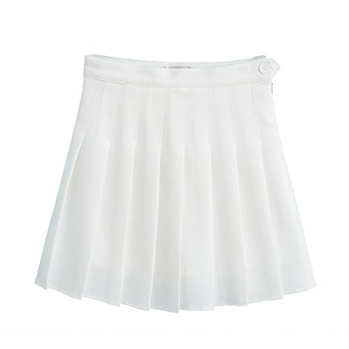 Shujin Femme Mini Jupe Pliss Gothique Jupe Patineuse vase Taille Haute Uniforme Scolaire Blanc