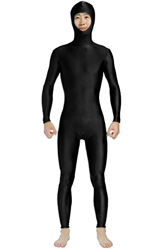 JustinCostume Men's Spandex Open Face Zentai Bodysuit XL Black No Hands No Feet (2)