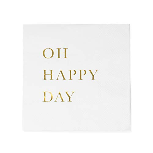(Sunshine Supply Gold Cocktail Napkins - 3-Ply Paper Party Napkins for Wedding Reception, Baby Shower, Bridal Shower, 5 Inch Gold Napkins with Oh Happy Day Design)