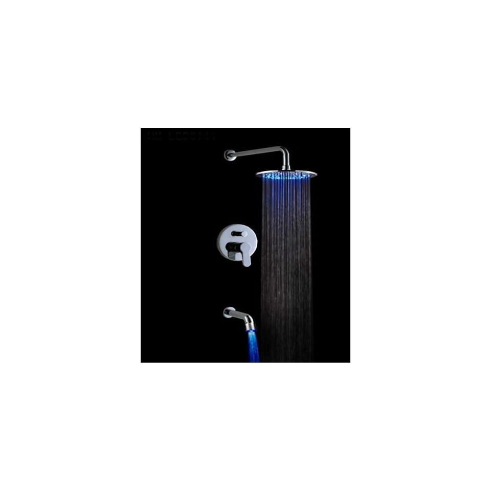 Faucetland 024002053 Single Handle Wall Mount Rain Shower Faucet?Build in LED Lights,Chrome