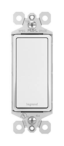 Legrand-Pass & Seymour TM873WCC 3-Way 15 Amp Single Pole/3-Way Rocker Wall Light Switch, Three, White