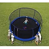 14' BouncePro Trampoline & Enclosure & Electron Shooter Game (Dark Blue)