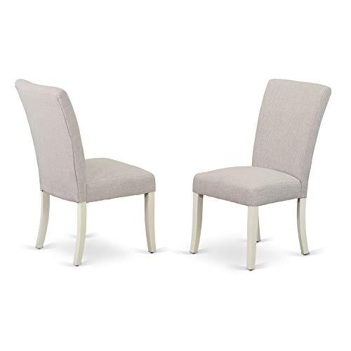 (East West Furniture ALP2B05 Alpine Parson Chair White Finish Leg and Linen Fabric-Doeskin)