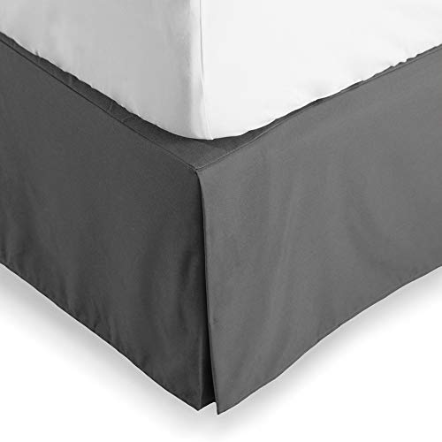 Bare Home Bed Skirt Double Brushed Premium Microfiber, 15-Inch Tailored Drop Pleated Dust Ruffle, 1800 Ultra-Soft, Shrink and Fade Resistant (King, Grey)