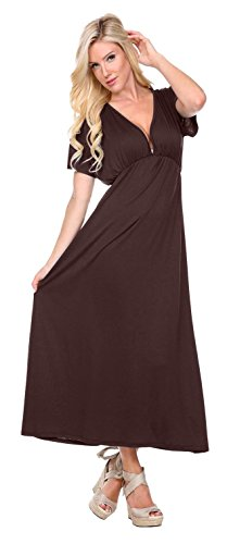 Stanzino Women's V neck Short Sleeve Elastic Waist Maxi Dress – Small, Brown