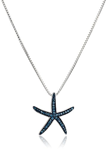 Diamond Cut Starfish Pendant (Sterling Silver Blue Diamond Starfish Pendant Necklace, 18