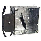 Hubbell 238 Square Box 4'', 2-1/8'' Deep, 1/2''&3/4'' Side Knockouts, Stud Bracket, Welded - Pkg Qty 25 (238)