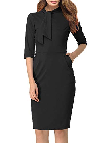 Berydress Womens Vintage Chic 50s Tie Neck 3/4 Sleeve Sheath Bodycon Cocktail Party Pencil Dress Pockets