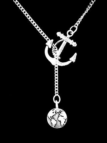 Earth Necklace Celestial Globe Map Atlas Galaxy Planet Anchor Lariat Jewelry CY-1760 from Tetrox