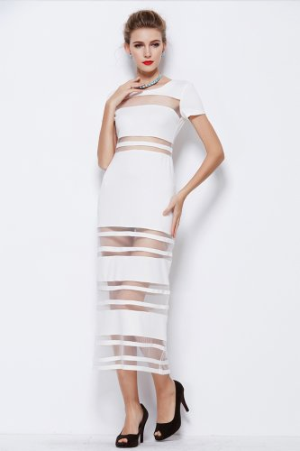 Robe Longue Manches Courtes Col Rond