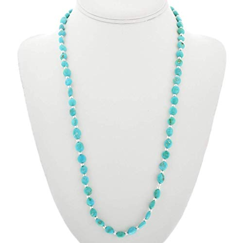 Turquoise Silver Bead Navajo Necklace Natural Sleeping Beauty Nuggets 3636 ()