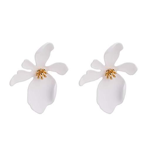 White Flower Stud Earrings Drop Dangle Earring Copper for Women, Girls by Jiami