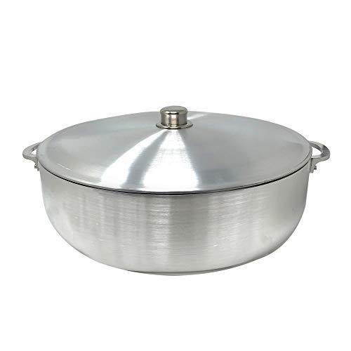 Cookware Cast - KITCHEN SENSE TRADITIONAL COLUMBIAN CAST ALUMINUM CALDERO BY AMERICAN DREAM SILVER STOCK POT WITH ALUMINUM LID -HEAVY GAUGE (13 Quarts)