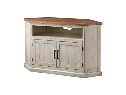 Martin Svensson Home Rustic Stamd Corner TV Stand Antique White and Honey Tobacco
