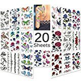 Lady up 20 Sheets Mixed Style Body Art Temporary Tattoos Paper, Flowers, Roses, Butterflies and Multi-Colored Waterproof Tattoo for Women, Girls or Kids, 90×190mm