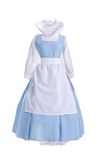 Cos store Blue Belle Costumes Beauty Beast Costume Halloween Costumes for Women (M)