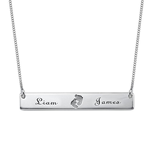 Personalized Name Necklace Custom Baby Necklace Pendant Footprint Bar Necklace with Engraving(18k rose-gold-plated-base 22