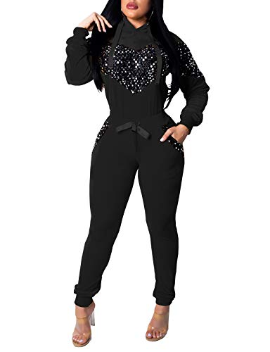 Women 2 Pieces Velour Tracksuits Sequins Hoodie Tops Long Sleeves Sweatpants Tracksuits with Pockets Black ()
