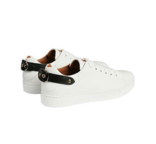 In Armani Sul Martellata Retro Emporio Decorativa Sneakers Bianco Pelle Con Fibbia SBgxpzqEdw