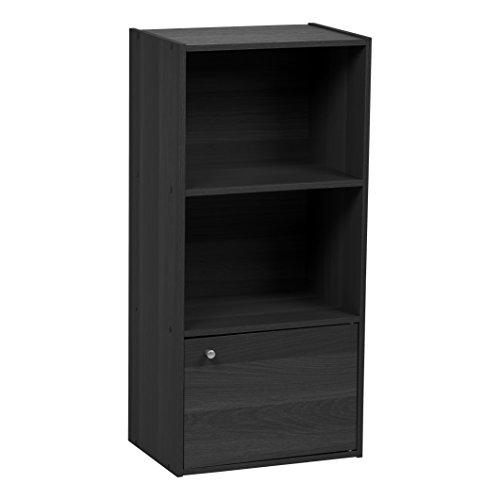 IRIS 3-Tier Wood Storage Shelf with Door, Black (Shelf Unit With Doors)