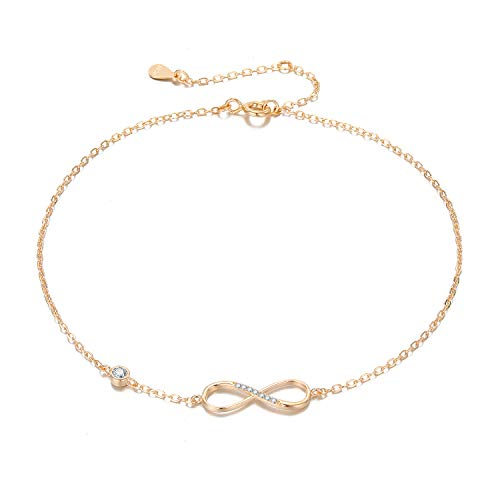 3UMeter Rose Gold Anklets for Women Beach Anklet Set for Teen Girls 925 Sterling Silver Infinite Anklet in Great Foot Bracelet Jewelry Gift