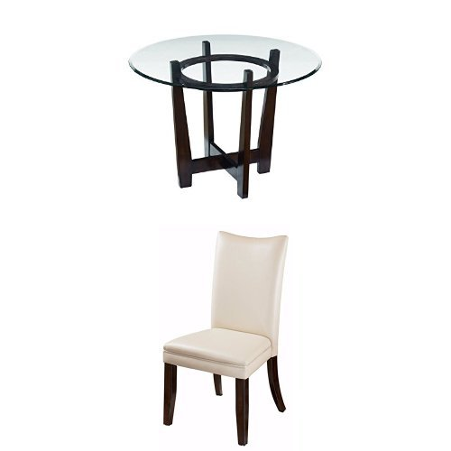 Ashley Furniture Signature Design - Charrell 5-Piece Dining Room Table Set - Includes Round Glass Table & 4 Upholstered Chairs - White