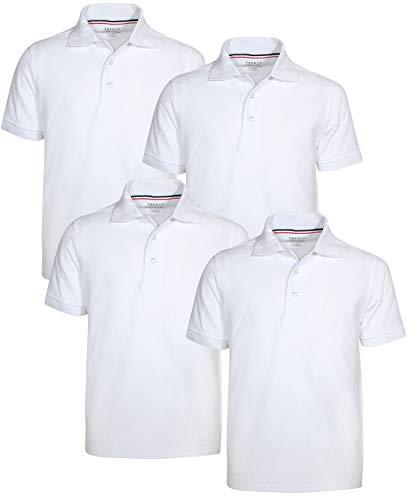 - French Toast Boys Short Sleeve Uniform Polo Shirt - 4 Pack, White, Size Medium'