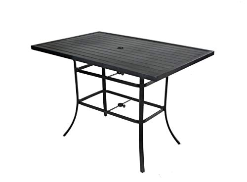 Pebble Lane Living All Weather Rust Proof Indoor/Outdoor Slat Top Rectangular Patio Bar Dining Table with 2