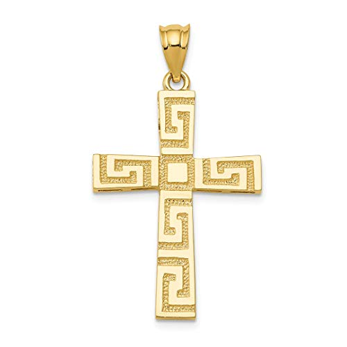 ICE CARATS 14kt Yellow Gold Greek Key Cross Religious Pendant Charm Necklace Latin Fine Jewelry Ideal Gifts For Women Gift Set From Heart