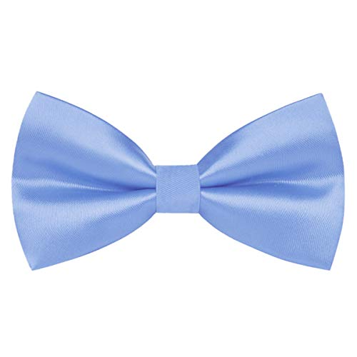 Wirarpa Mens Classic Pre-tied Bow Ties Clip On Formal Solid Tuxedo Adjustable Bowtie Wedding Light Blue Large