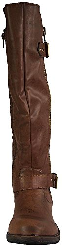 Women's Vivienne-01 Studded Quilted Leatherette Buckle Round Toe Motorcycle Boots