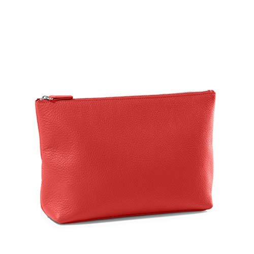 (Large Accessories Pouch - Full Grain Leather Leather - Scarlet (red))