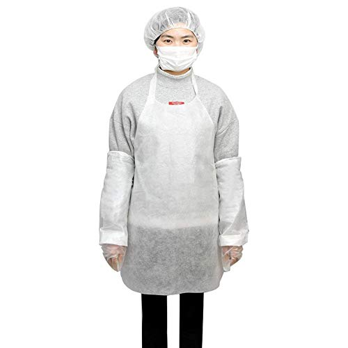 Disposable Apron Suit Set,10 Pack Adult Disposable Waterproof Dust-Proof Suit White Plastic Apron,Sleeve,Gloves,Mask,Hair Cap by cheerfullus (Image #1)