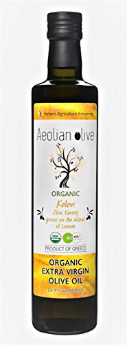 Olive Swirls - Fresh Harvest | Premium Greek Organic Extra Virgin Olive Oil by AEOLIAN OLIVE 16.9oz 500 ml | Single Variety First Cold Pressed | Silver Award IOOC 2019 | USDA Organic | Handpicked From Lesvos Greece