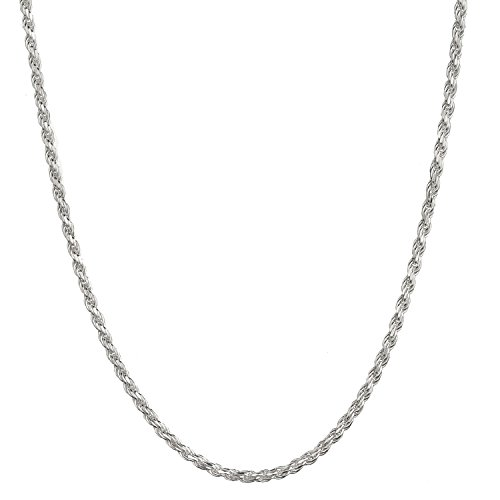 Sterling Silver 2.75mm Italian Diamond Cut Rope Chain Necklace - (Sterling Silver 22 Inch Rope)