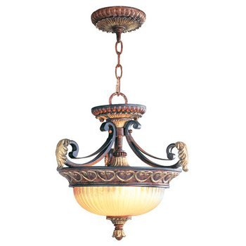 Livex Lighting 8577-63 Villa Verona 2 Light Verona Bronze Finish Flush Mount/Hanging Lantern with Aged Gold Leaf Accents and Rustic Art Glass (Pendant Collection Verona)