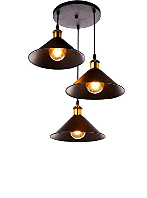 New Galaxy Lighting 3-Light Industrial Black Finish Metal Shade Hanging Pendant Ceiling Lamp Fixture