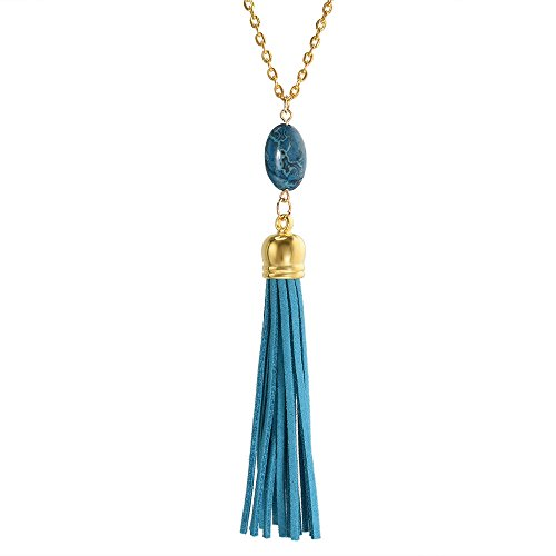 ERAWAN 1PC Oval Nature Stone Velvet Leather Tassel Necklace Long Chain Pendant Necklace EW sakcharn (Lake Blue)