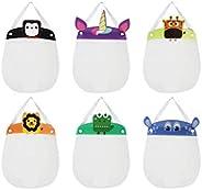 Set of 6 Kids Face Shields - Animal Print