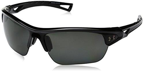 Under Armour Wrap Sunglasses UA Octane Storm Shiny Black Frame/Gray Polarized Lens, M/L - Frame Gray Polarized Lens